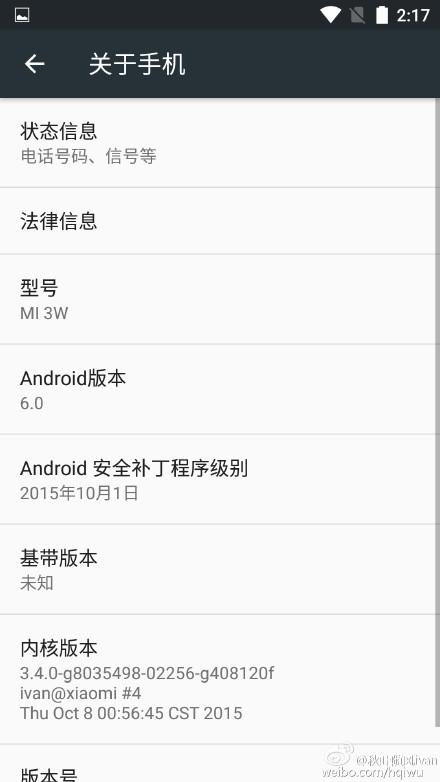 Xiaomi Mi3 Mi4 Android 6.0